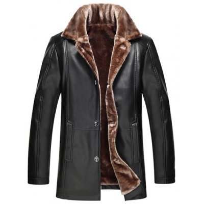 Button Front Flocking PU Leather Jacket