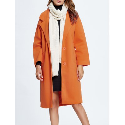Wool Blend Loose Button Up Coat