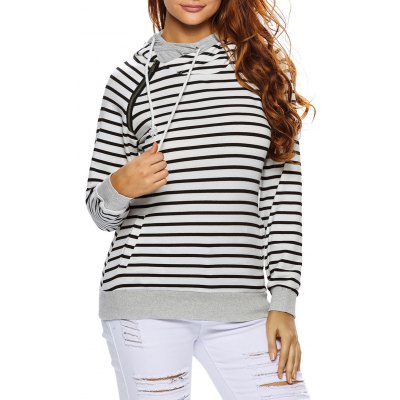 Stripe Pullover Long White Hoodie With Pocket