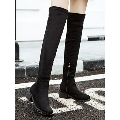 chunky-heel-flock-thigh-high-boots