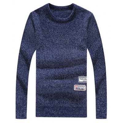 Crew Neck Appliques Long Sleeve Sweater