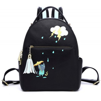 PU Leather Cartoon Print Tassel Backpack