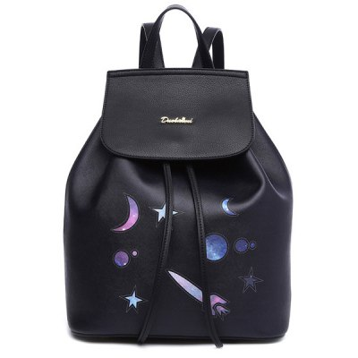 Drawstring PU Leather Planet Print Backpack