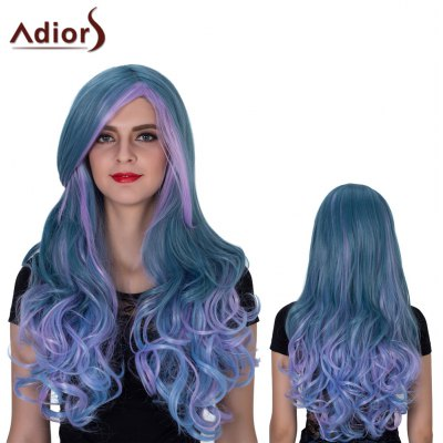 Adiors Long Colormix Oblique Bang Layered Wavy Film Character Synthetic Wig