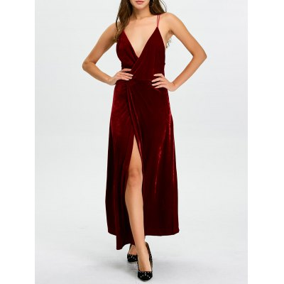 Plunge High Slit Christmas Party Dress