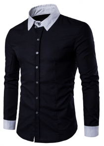 Contrast Collar Back Pleat Button Down Shirt