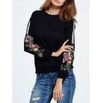 cheap Embroidered Drop Shoulder Sweatshirt
