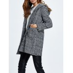 cheap Wool Blend Hooded Checked Coat