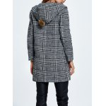 Wool Blend Hooded Checked Coat for sale