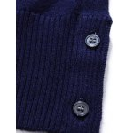 best Crew Neck Stripe Design Buttons Embellished Sweater