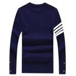 Crew Neck Stripe Design Buttons Embellished Sweater