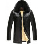 Buy Faux Fur Collar Plush Lining PU Leather Jacket 4XL