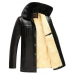 cheap Faux Fur Collar Plush Lining PU Leather Jacket