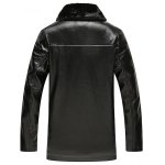 Faux Fur Collar Plush Lining PU Leather Jacket deal