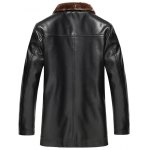 cheap Button Front Flocking PU Leather Jacket