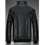 cheap Rib Hem Zip Up Flocking PU Leather Jacket