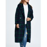 cheap Wool Blend Loose Checked Coat