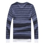 cheap Crew Neck Striped Graphic Long Sleeve Sweater