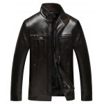 Stand Collar Zip Up Flocking Faux Leather Jacket