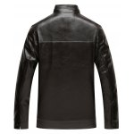 cheap Stand Collar Zip Up Flocking Faux Leather Jacket