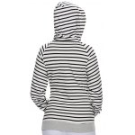 best Stripe Pullover Long White Hoodie With Pocket