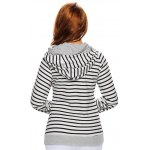 Stripe Pullover Long White Hoodie With Pocket for sale