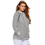 cheap Stripe Pullover Long White Hoodie With Pocket