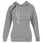 Stripe Pullover Long White Hoodie With Pocket photo