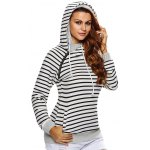 Stripe Pullover Long White Hoodie With Pocket deal
