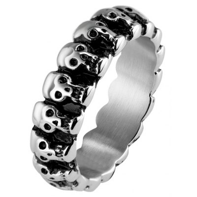 Retro Style Personalished Skull Heads Circles Ring