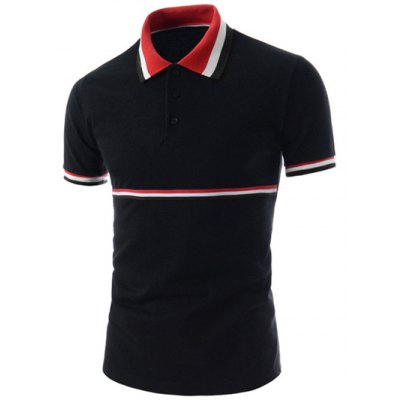 Striped Panel Polo T-Shirt