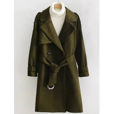 Double Breasted Woollen Blend Trench Coat