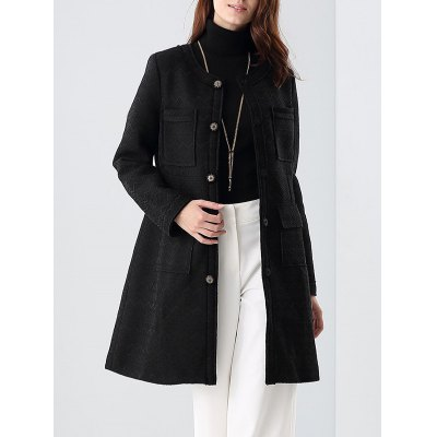 Collarless Buttoned Pocket Coat