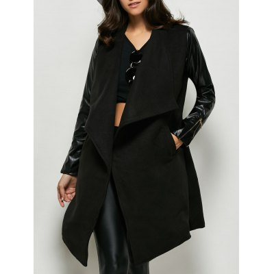 Faux Leather Panel Wool Blend Coat