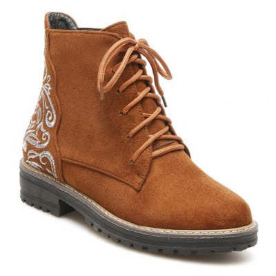 Embroidered Combat Boots