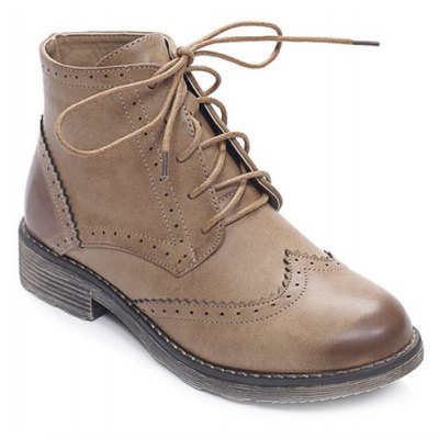 PU Leather Lace Up Engraving Short Boots