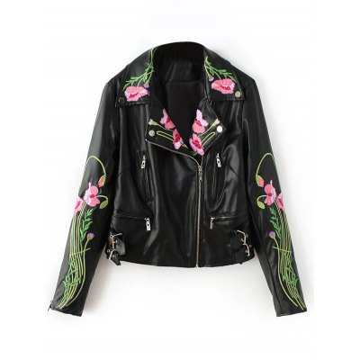 Floral Embroidered Faux Leather Jacket