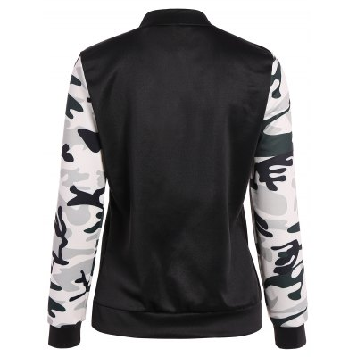 Camouflage Panel Zippered Bomber Jacket
