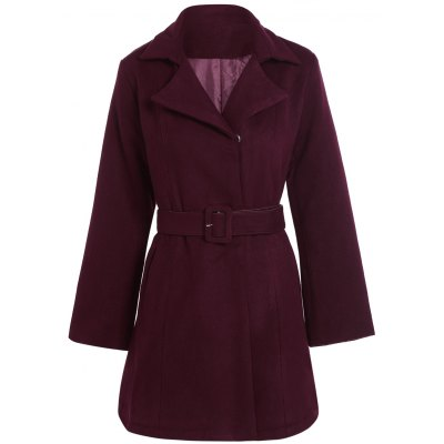 Belted Plus Size Overcoat