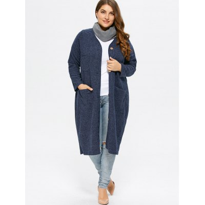 Collarless Button Up Long Coat