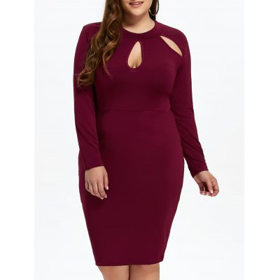 Cut Out Plus Size Fitted Dress with Long Sleeves