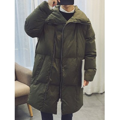 Turndown Collar Zip Up Puffer Coat