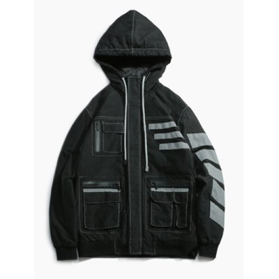 Striped Zippered Hooded Padded Jacket