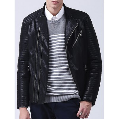 Ribbed Zippered Faux Leather Jacket