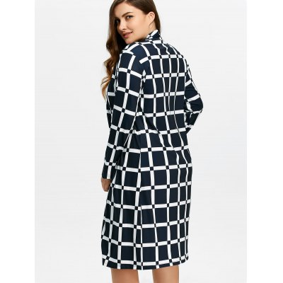 Plus Size Grid CoatJackets &amp; Coats<br>Plus Size Grid Coat<br><br>Clothes Type: Trench<br>Material: Polyester<br>Type: Wide-waisted<br>Clothing Length: Long<br>Sleeve Length: Full<br>Collar: Collarless<br>Pattern Type: Plaid<br>Embellishment: Vintage<br>Style: Streetwear<br>Season: Fall,Spring,Winter<br>With Belt: No<br>Weight: 0.670kg<br>Package Contents: 1 x Coat