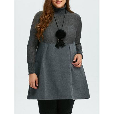 Plus Size Turtleneck Empire Waisted Mini Dress