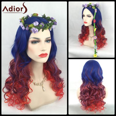 Long Colormix Side Parting Wavy Adiors Christmas Party Synthetic Wig