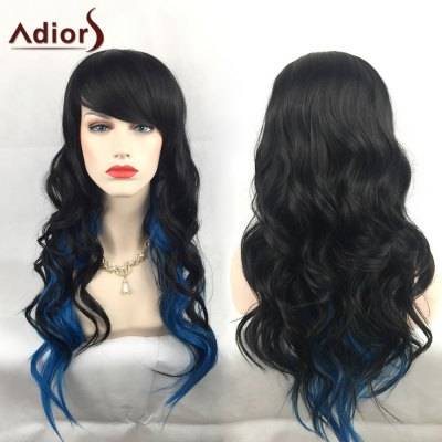 Adiors Long Colormix Oblique Bang Wavy Christmas Party Synthetic Wig