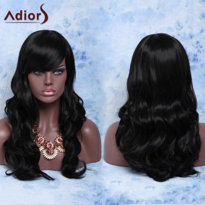 Long Curly Natural Black Full Bang Synthetic Capless Wig