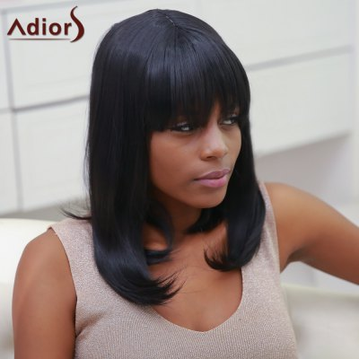 Stylish Synthetic Straight Full Bang Medium Bob Wig For Women